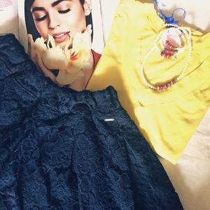 Hollister Skater Skirt Floral Lace Size M